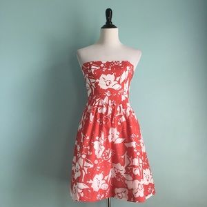 The Limited Red & White Floral Strapless Sundress